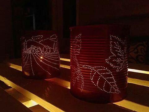 Portavelas reciclados con motivos campestres latas - Decoracion con reciclaje ...