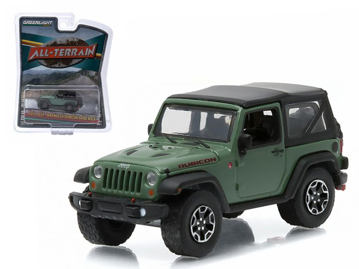 "2015 Jeep Wrangler Rubicon Hard Rock Tank Green ""All Terrain"""" Series 1 1/64 Diecast Model Car by Greenlight"""