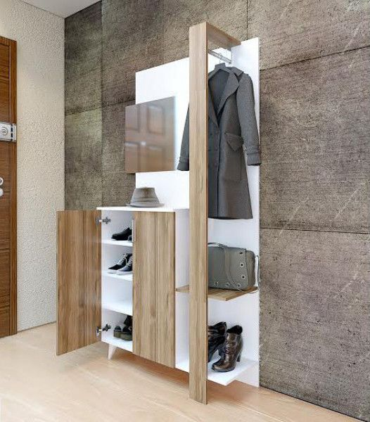 SMART Shoe cabinet & coat hanger is practical and trendy. The unit is featuring plenty of space for your shoes and hangers for your coats Colours: White-Whi
