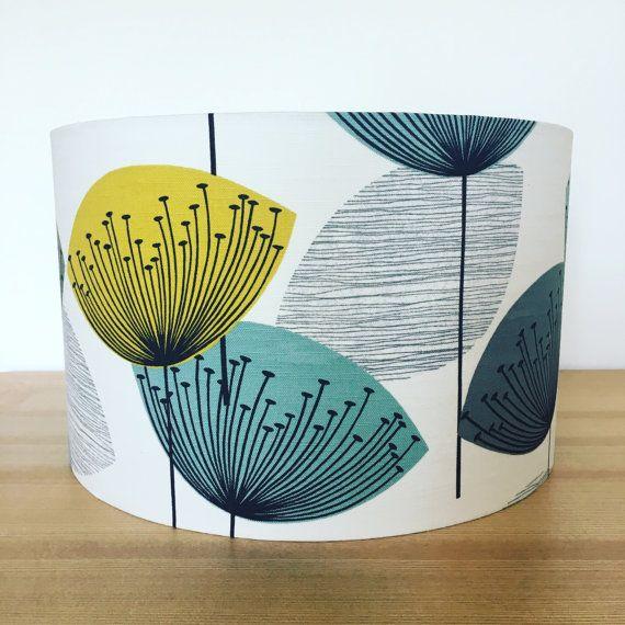 Handmade Fabric Drum Lampshade Dandelions by Sanderson
