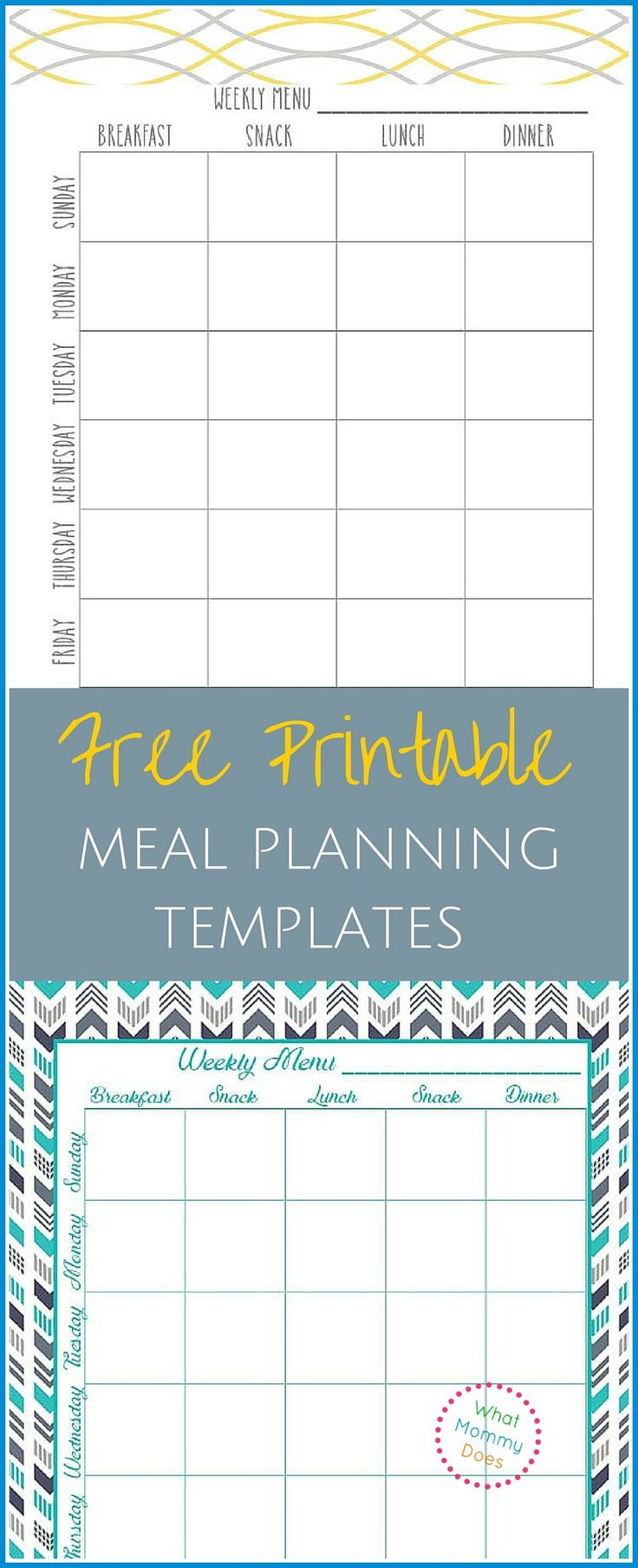 These two meal planning templates are a MUST HAVE for any mom who needs to plan out her weekly menu all at once. I started doing this and it has saved me so much time AND money! #moneysavingidea #free