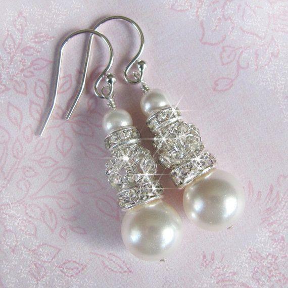 Strass und Perle Braut Ohrringe Ball Strass von NaturesWildJewels