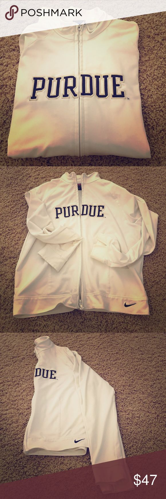 White Nike zip up White Nike Purdue zip up. Gently used and in great condition. Double zipper; meaning it zips up and down both ways. Official university gear. Nike Team Jackets & Coats