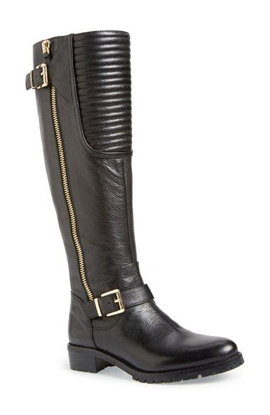 Free shipping and returns on Vince Camuto 'Jamina' Riding Boot (Women) at Nordstrom.com. Channel-quilted panel insets add moto-inspired edge to a leather riding boot accented with logo-etched goldtone hardware and belt details at the calf and ankle.