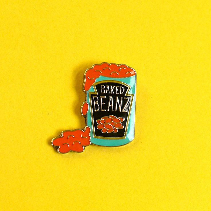 Baked Beans Enamel Pin Badge Lapel Pin - Kitsch Retro Pop Art Food by YouMakeMeDesign on Etsy https://www.etsy.com/listing/269839965/baked-beans-enamel-pin-badge-lapel-pin