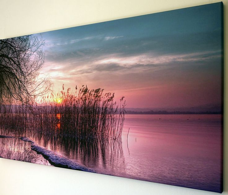 SUNSET LAKE SCENE WALL ART CANVAS PICTURE EXTRA LARGE 18  X 32
