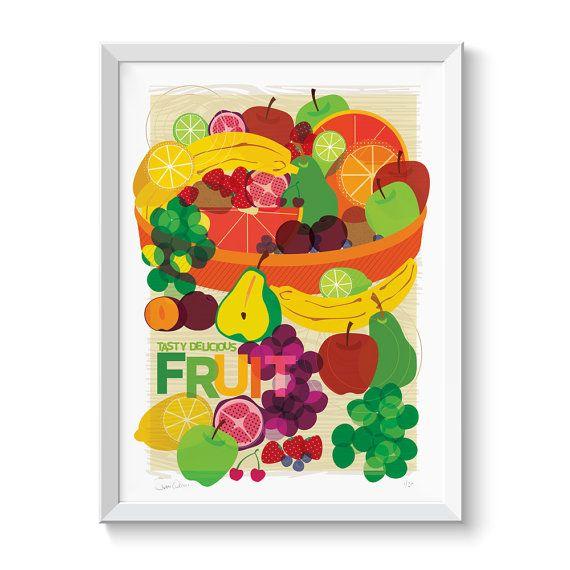 Vassoio di frutta cibo stampa illustrazione Wall Art