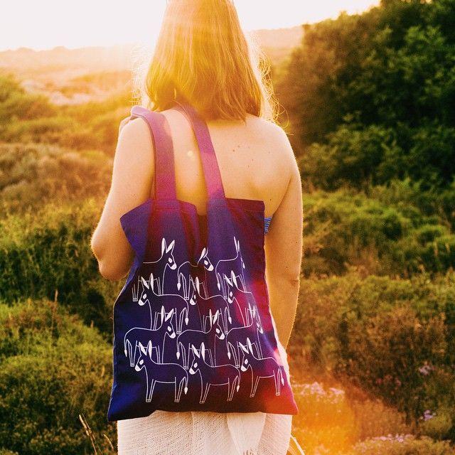 Happy donkeys tote bag ! #donkeys #bag #thebluewhite #bluerthanblue #summer #greece #sunset #colours #pattern #illustration