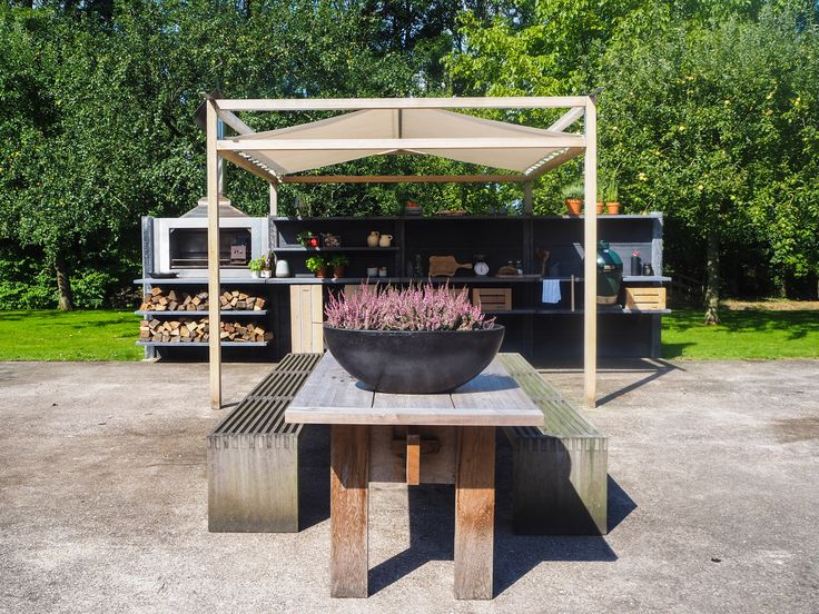 WWOO Outdoor Kitchen In Anthracite With The WWOO Canopy | Www.wwoo.nl