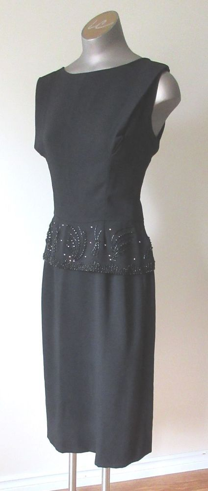 Vintage 1950s60s Little Black Dress With Beaded And Rhinestones