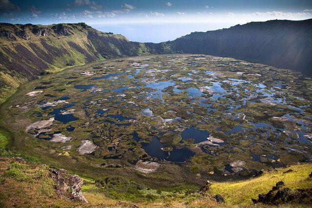 Cráter volcán Rano Kau Isla Pascua