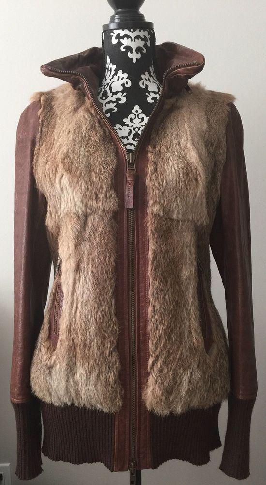 MACKAGE Leather Jacket Rabbit Fur Brown Hooded - Women Medium - RARE #Mackage #Casual