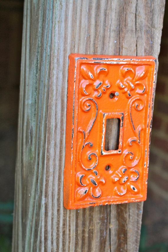 Tangerine orange decorative light switch plate single Light switch plates decorative