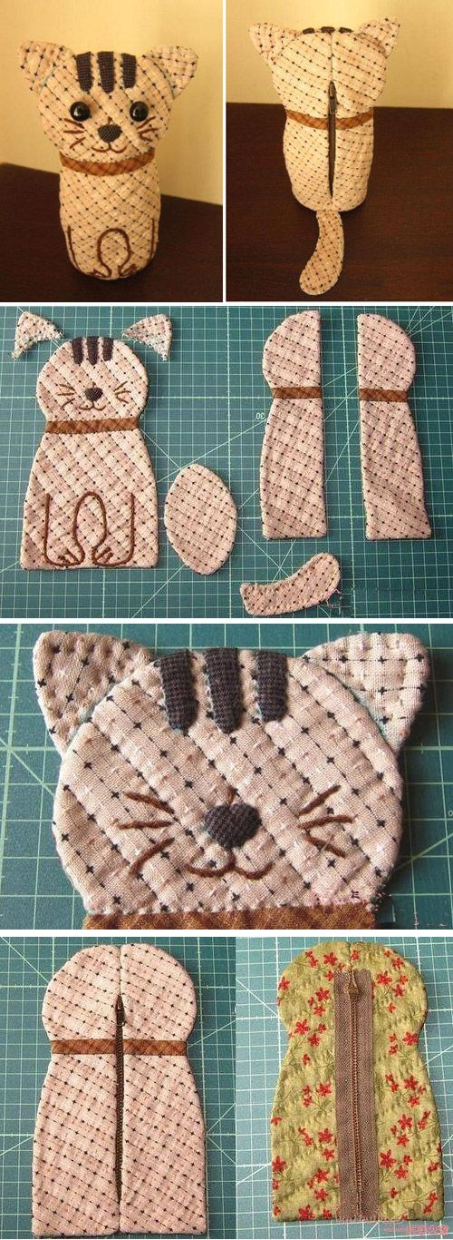 Bag Cat Quilting. DIY Tutorial with Photos. http://www.handmadiya.com/2015/12/bag-cat-quilting.html