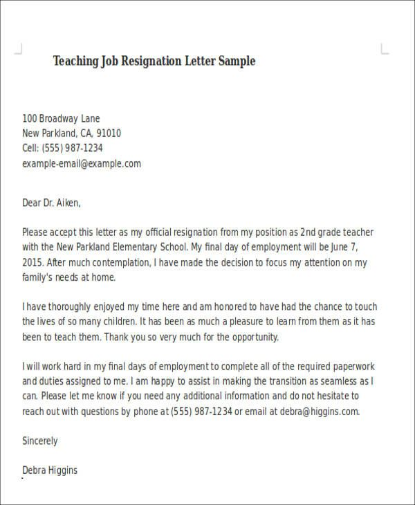 Resignation Letter For A Teacher Beautiful Sample Teaching