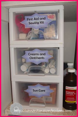 stackable shelves in laundry/bathroom closet