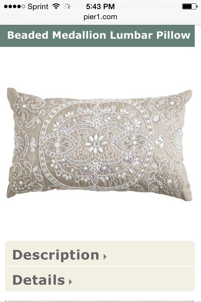 Silver Beaded Decorative Pillow : Silver beaded pillow Home Decor & inspiration Pinterest Silver and Pillows