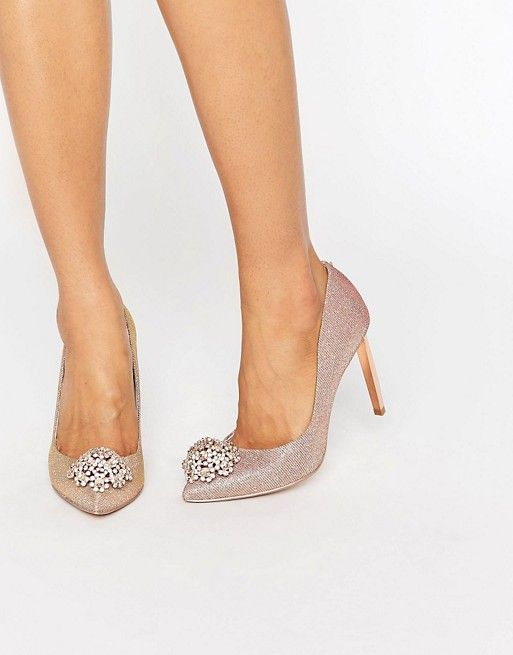 Ted Baker Peetch Tie The Knot Rose Gold Embellished Court Shoes £140.00