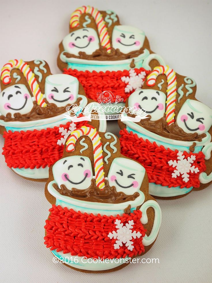 hot cocoa with Cozy sweater Christmas cookies, Cookie