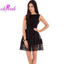 Ohyeah hermoso encaje vestido skater fit y la llamarada negro/de color caqui mujeres vestido sin mangas de la venta caliente elegante vestidos femininos RV80049(China (Mainland))