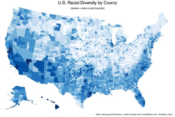 The 5 U.S. Counties Where Racial Diversity Is Highest—and Lowest - Svati Kirsten Narula - The Atlantic