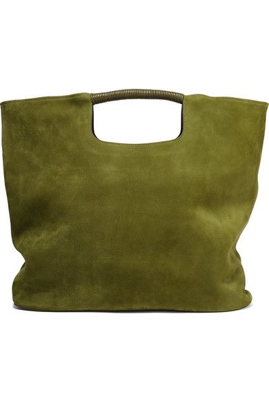 Green nubuck and leather (Cow) Open top Designer color: Moss Weighs approximately 2.4lbs/ 1.1kg