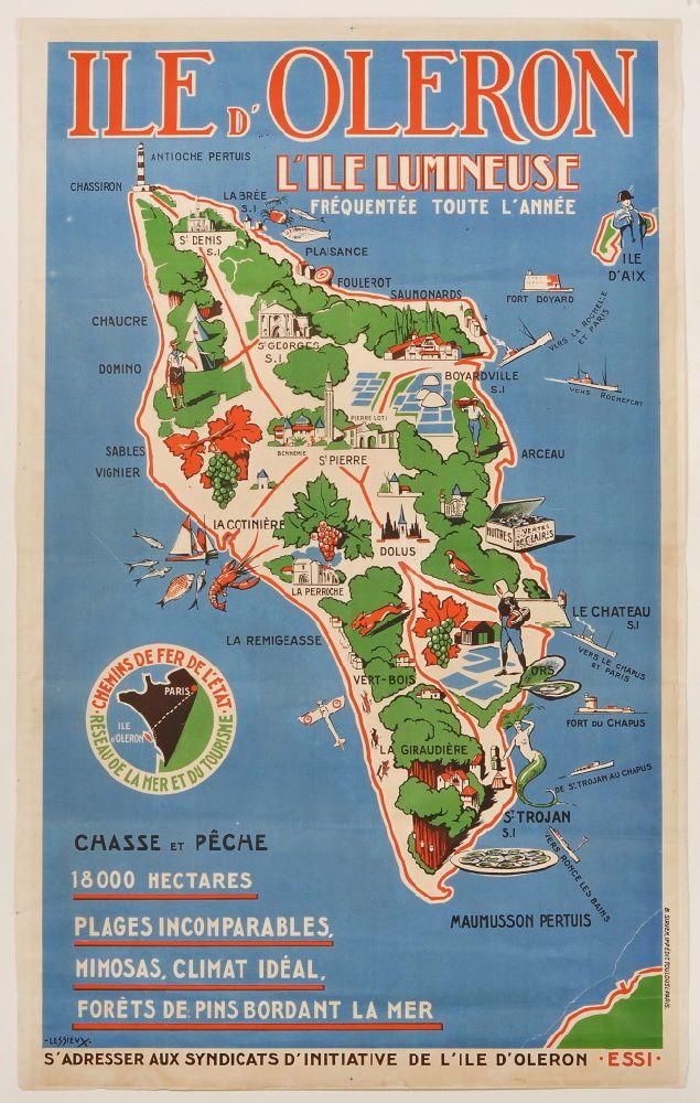 Vintage Travel Poster - Ile d'Oleron - l'Ile Lumineuse.