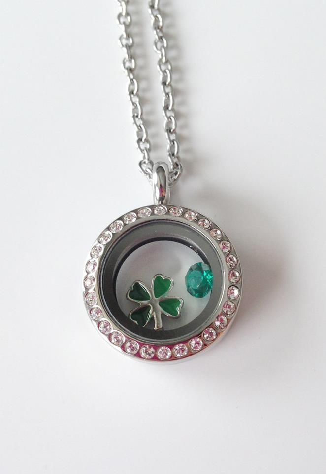 Lucky Locket!  A four leaf clover and a green crystal are the perfect charms for a lucky locket! www.southhilldesigns.com/kkennedy