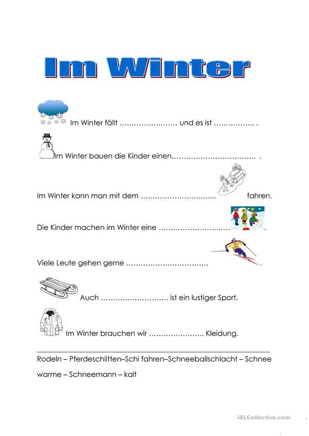 Im Winter | german | Pinterest | Worksheets
