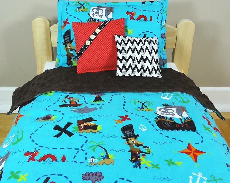 "Pirate map on blue - Doll bedding set for AG dolls, Bitty Twin, Bitty baby and Waldorf dolls up to 15 inches - The bed in pic is an IKEA bed and measures actually 14"" x 20"".  The bedding set also fits the American Girl doll beds - by #mylittlepoppyseed on #etsy - Visit and like my Facebook page and my Etsy shop - Bienvenue dans ma boutique!  https://www.facebook.com/MyLittlePoppySeedCreations  https://www.etsy.com/ca/shop/mylittlepoppyseed"