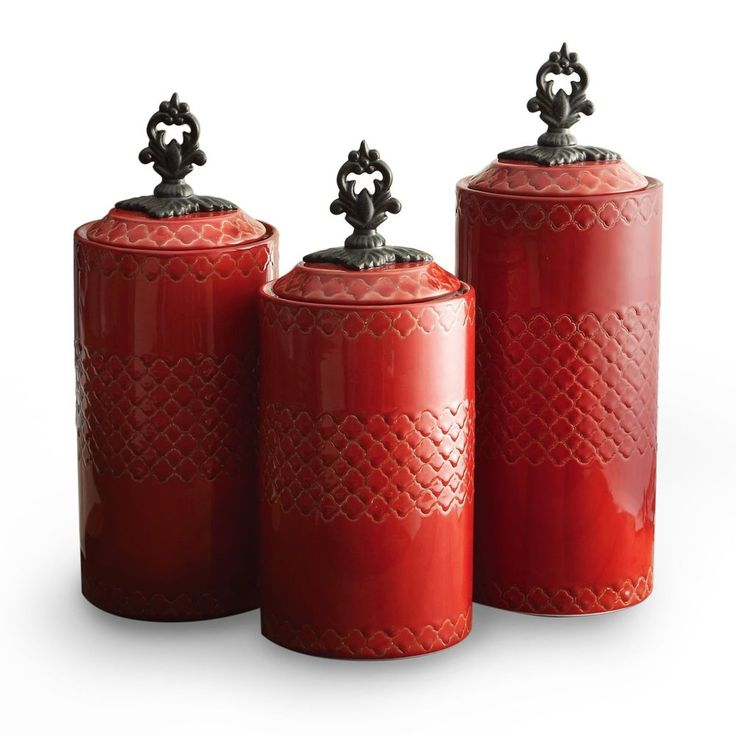 American Atelier Set of 3 Red Canisters Storage With Style Dry Foods & Goods New #AmericanAtelier
