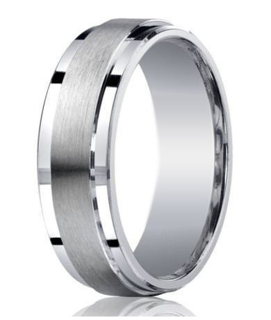 Mens Silver Wedding Ring with Satin Center and Polished Step-Down Edges   7mm - MBS1016