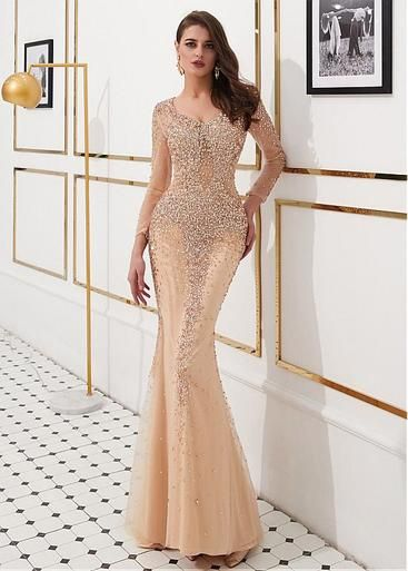 8b372cce540a5 Gold Tulle V-neck Beading Long Sleeves Mermaid Evening Dress in 2019 ...