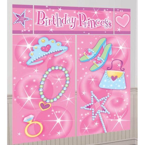 Roze Birthday Princess scene setter 1,65 x 1,9 meter. Mega muurdecoratie in de kleur lichtroze met de tekst Birthday Princess. Deze verjaardag decoratie voor meisjes is ongeveer 1,65 x 1,9 meter groot en bestaat uit 5 delen.
