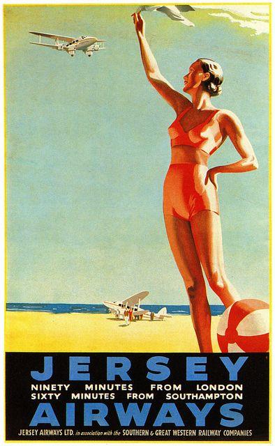 Jersey: Only 90 Minutes from London (Channel Islands) Vintage travel beach poster #essenzadiriviera - www.varaldocosmetica.it/en