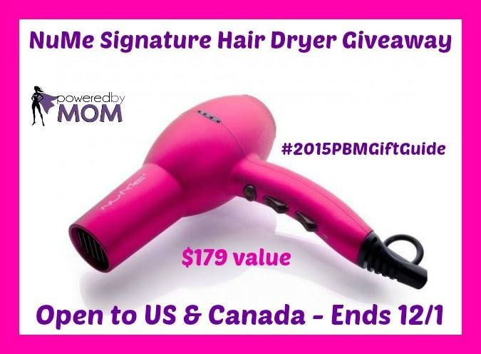 NuMe Signature Hair Dryer GIVEAWAY We all know how important a GOOD hair dryer is. It makes all the difference of drying time, how our hair looks when it'