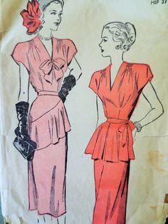 Vintage Advance 4575 Sewing Pattern, 1940s Dress Pattern, Peplum Dress, Bust 34, Draped Dress, Forties Fashion, Vintage Sewing Supply