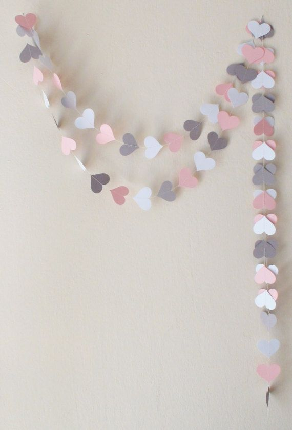 Pink Gray White  Paper Heart Garland 10ft Pink by HelenKurtidu