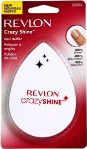 Revlon Crazy Shine Nail Buffer, By Revlon 1 Ea by Revlon. $4.99. Expert Tips: Remove nail enamel. Shape nails with Revlon File to desired shape. Bare Nails: * Step One: Use green side to smooth and even out nail surface. * Step Two: Use white side to polish nail to an outrageous shine. Polished Nails: Use white side to revive nail polish luster.. Creates top coat shine in seconds that lasts 3 days 400% shinier than bare nails Unique, comfortable shape for easy u...