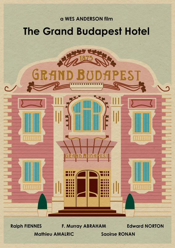 THE GRAND BUDAPEST HOTEL film poster.  This is an original print illustrated by me, the artist.  Size is approximately 16 by 12.  Print will be