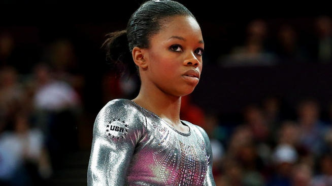 """Gabby Douglas finished dead last in the individual uneven bars final Monday, the same event that earned her the nickname """"The Flying Squirrel"""" for her gravity-defying height.  She apparently turned the wrong way in her routine and could not recover well enough to earn a high score."""