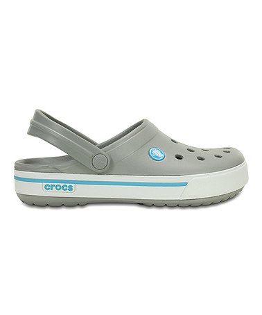 This Light Gray & Electric Blue Crocband™ II.5 Clog - Women & Men by Crocs is perfect! #zulilyfinds