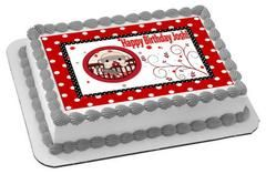 SOCK MONKEY THEME Red Edible Birthday Cake Topper OR Cupcake Topper, Decor - Edible Prints On Cake (Edible Cake &Cupcake Topper)