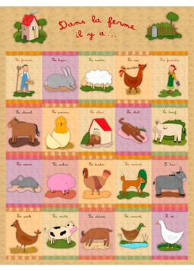 Kids' French Farm Poster... I'd love to become fluent in French just so I could teach it to my kids in the future.