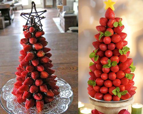 Árvore de Natal feita de fruta.