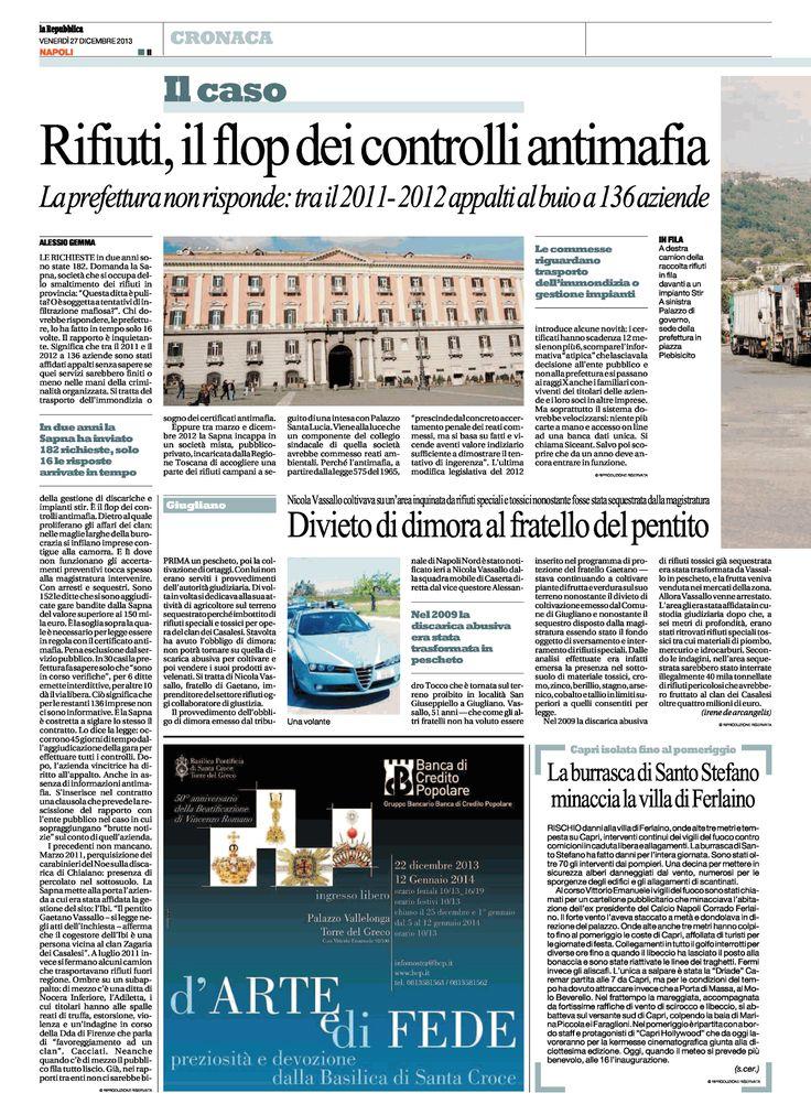 #Rifiuti, flop controlli #antimafia: appalti al buio per 136 aziende da parte della #SapNa