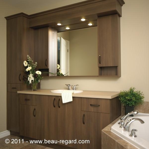 Armoire salle de bain mélamine, comptoir en statifié