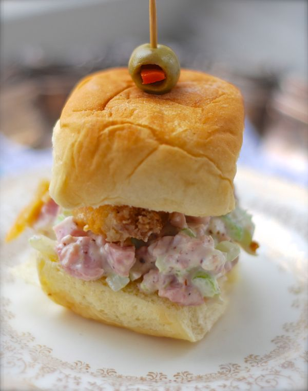 Hawaiian Ham Salad Sliders - Tasty little sandwiches - remember to plan pineapple crisp for a side dish for a meal the previous day.