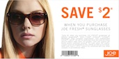 With this printable coupon, you can receive $2 off Joe Fresh Sunglasses until June 2, 2012.