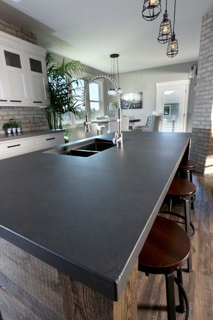 Image Result For How To Make A Black Concrete Countertop Concrete Countertops In 2019 Concrete Kitchen Kitchen Remodel Dark Countertops